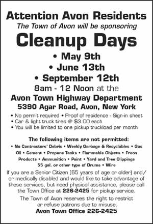 Town of Avon Cleanup Days