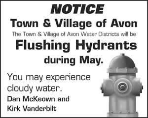 NOTICE: Town & Village of Avon Water Districts will be Flushing Hydrants during May