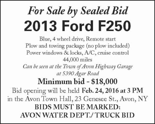 For Sale by Sealed Bid 2013 Ford 250