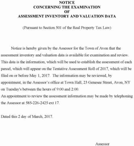 Notice concerning the Examination of Assessment Inventory & valuation Data